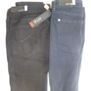 2 Pr Apt 9 Black + Blue Denim Jeans 24W Boot Cut